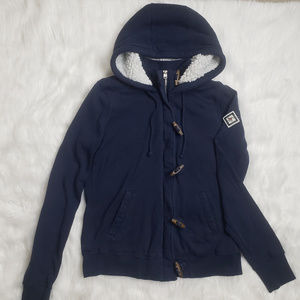 Hollister Faux Fur-Lined Full-Zip Hoodie Small